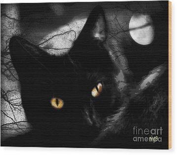 Wood Print featuring the digital art Black Cat Golden Eye by Mindy Bench