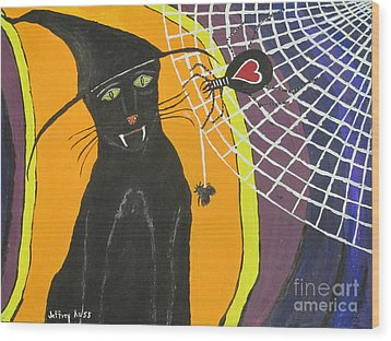Black Cat In A Hat  Wood Print