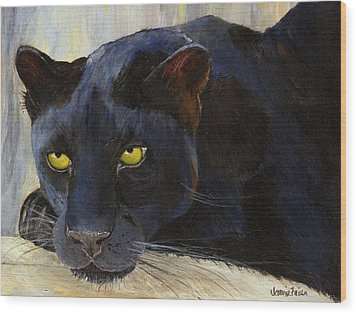Black Cat Wood Print by Jamie Frier