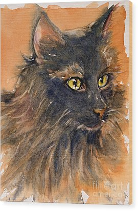 Black Cat Wood Print by Judith Levins