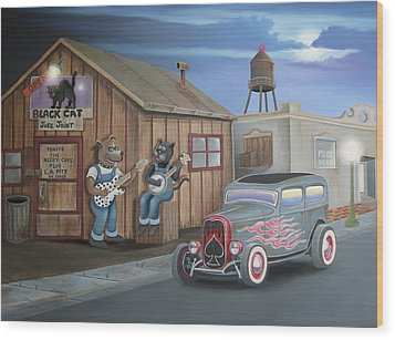 Black Cat Juke Joint Wood Print