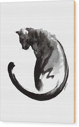 Black Cat Wood Print by Mariusz Szmerdt