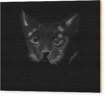 Black Cat Wood Print by Saki Art
