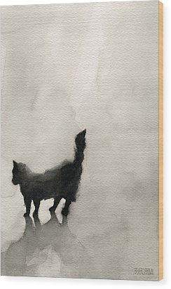 Black Cat Watercolor Painting Wood Print