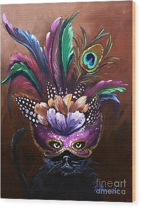 Black Cat With Venetian Mask Wood Print