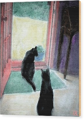 Black Cats Wood Print by Art by Kar