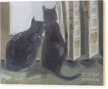 Black Cats  Wood Print
