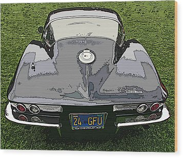 Black Chevy Corvette Stingray Wood Print
