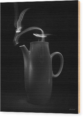 Wood Print featuring the photograph Black Coffee Pot - Light Painting by Steven Milner