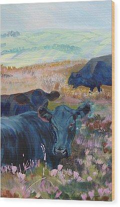 Black Cows On Dartmoor Wood Print
