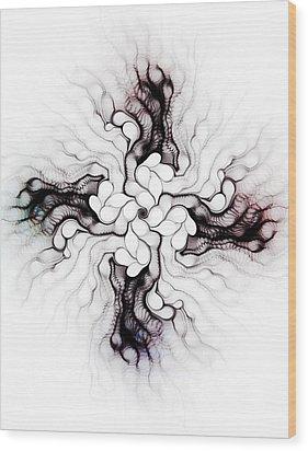 Black Cross Wood Print by Anastasiya Malakhova