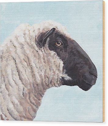 Black Face Sheep Wood Print by Charlotte Yealey