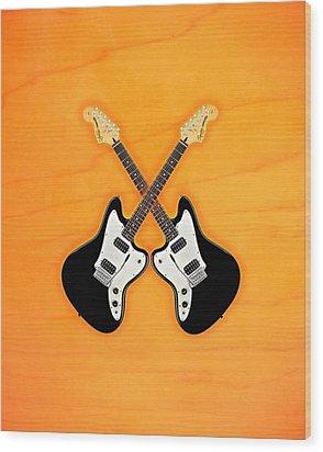 Black Fender Jaguar  Guitar Wood Print by Doron Mafdoos