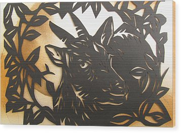 Black Goat Cut Out Wood Print by Alfred Ng