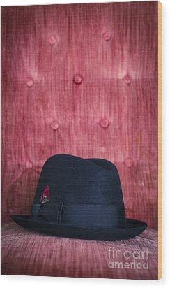 Black Hat On Red Velvet Chair Wood Print by Edward Fielding
