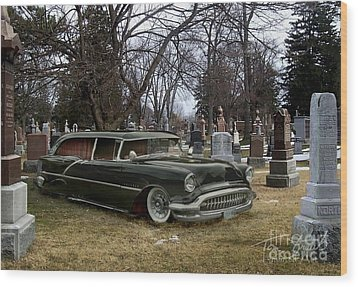 Black Hearse Wood Print by Tom Straub
