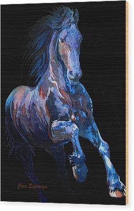 Black Horse In Black Wood Print by J- J- Espinoza
