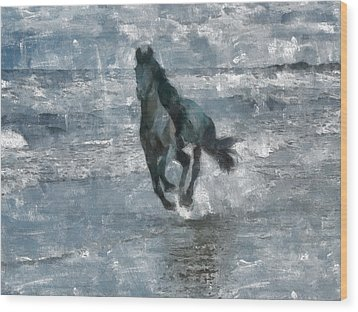 Wood Print featuring the painting Black Horse Running On The Beach by Georgi Dimitrov
