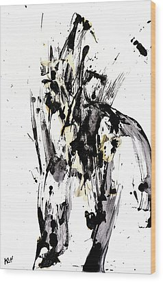Wood Print featuring the painting Black Is Not White White Is Not Black by Kris Haas