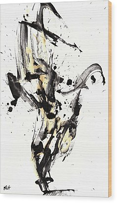 Wood Print featuring the painting Black Is White White Is Black by Kris Haas