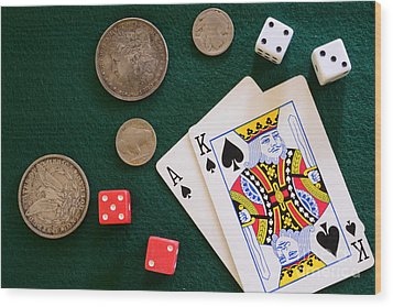 Black Jack And Silver Dollars Wood Print by Paul Ward