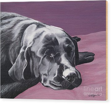 Black Labrador Beauty Sleep Wood Print