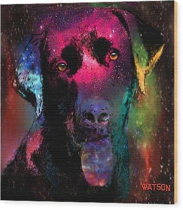 Black Labrador Dog Wood Print by Marlene Watson