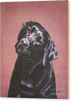 Black Labrador Portrait Painting Wood Print