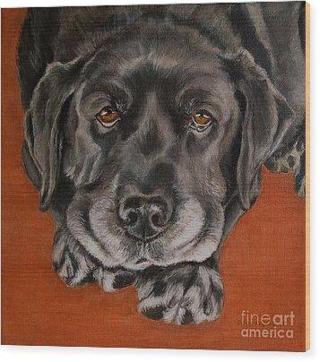 Black Labrador Rests Head Rescue Dog Wood Print