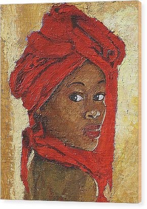 Black Lady No. 12 Wood Print by Janet Ashworth