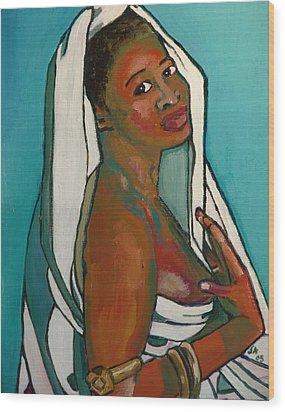 Black Lady No. 5 Wood Print by Janet Ashworth