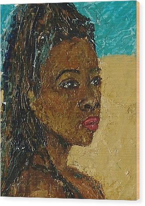 Black Lady No.9 Wood Print by Janet Ashworth