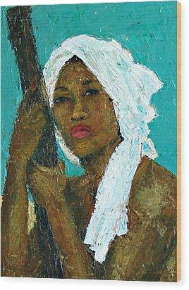 Black Lady With White Head-dress Wood Print by Janet Ashworth