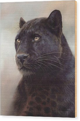 Black Leopard Painting Wood Print by Rachel Stribbling