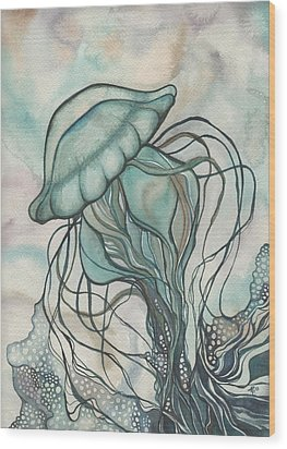 Black Lung Green Jellyfish Wood Print by Tamara Phillips