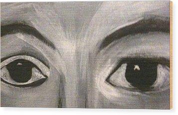 Black N White Eyes Wood Print by Juliann Sweet