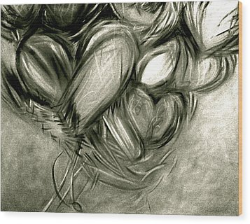 Black N' White-hearts Soar-thinking Of You Wood Print by Juliann Sweet