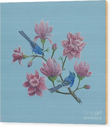 Wood Print featuring the painting Black Naped Blue Flycatchers In Magnolias by Anthony Lyon