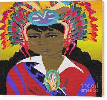Black Native American Indian Wood Print by Belinda Threeths