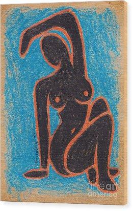 Black Nude Wood Print by Joseph Sonday