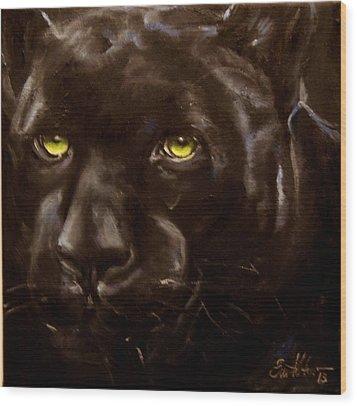 Black Panther Wood Print