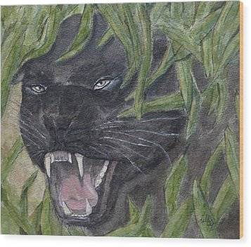 Wood Print featuring the painting Black Panther Fury by Kelly Mills