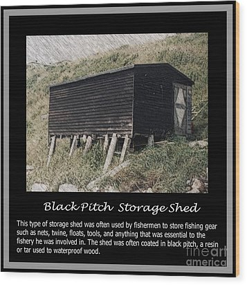 Black Pitch Storage Shed Wood Print by Barbara Griffin