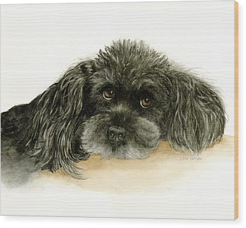 Wood Print featuring the painting Black Poodle Dog by Nan Wright