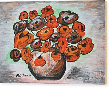 Black Poppies Wood Print by Ramona Matei