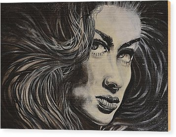 Black Portrait 13 Wood Print by Sandro Ramani