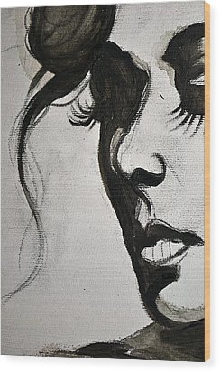 Black Portrait 16 Wood Print by Sandro Ramani