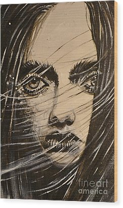 Black Portrait 18 Wood Print by Sandro Ramani
