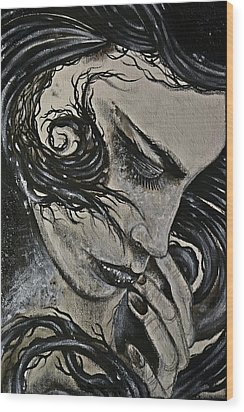 Black Portrait 4 Wood Print by Sandro Ramani