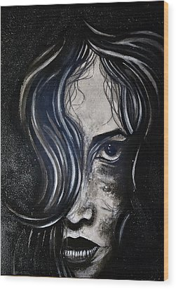 Black Portrait 5 Wood Print by Sandro Ramani